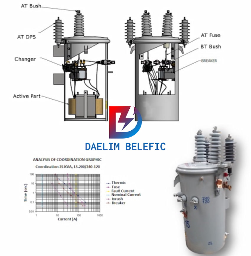 Oil Filled Immersed Transformer pole mounted transformer